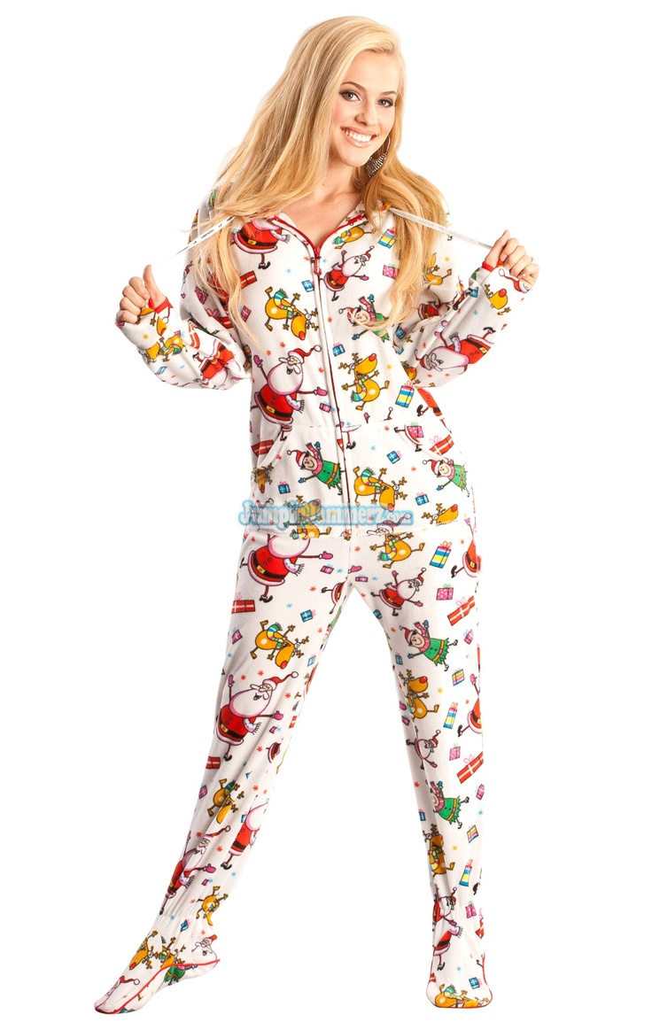 Onesie footed pajamas in adult and teen sizes with Christmas and Winter themed patterns Find this Pin and more on Christmas Footed Pajamas for Adults by Christmas Prep. i'm pretty certain joybird and i will be sporting matching footed jammies this christmas.