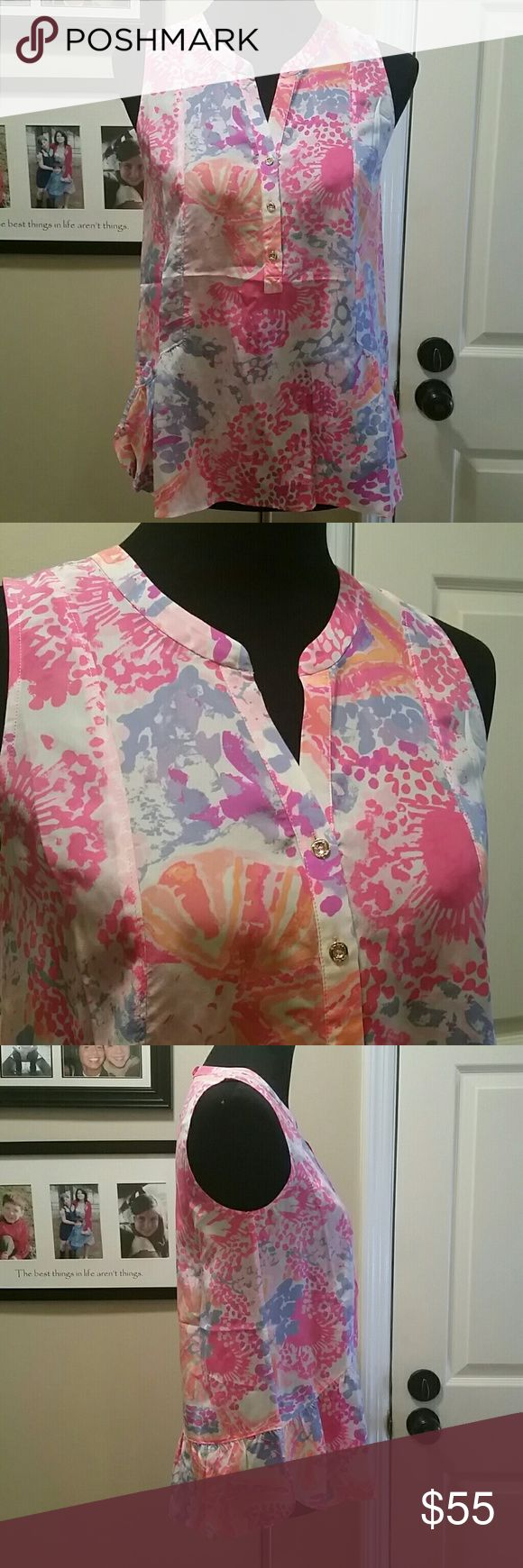 Lilly Pulitzer Kery Silk Top Lilly Pulitzer Kery Silk Top, Paradise pin, bohemian Beach. NWT Lilly Pulitzer Tops