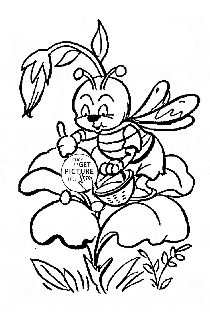 Birdhouse coloring sheet - Cute Little Bee Pollinating A Flower Coloring Page For Kids Flower Coloring Pages Printables Free