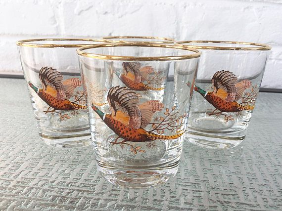 West Virginia Glass Pheasant Old Fashion Glasses