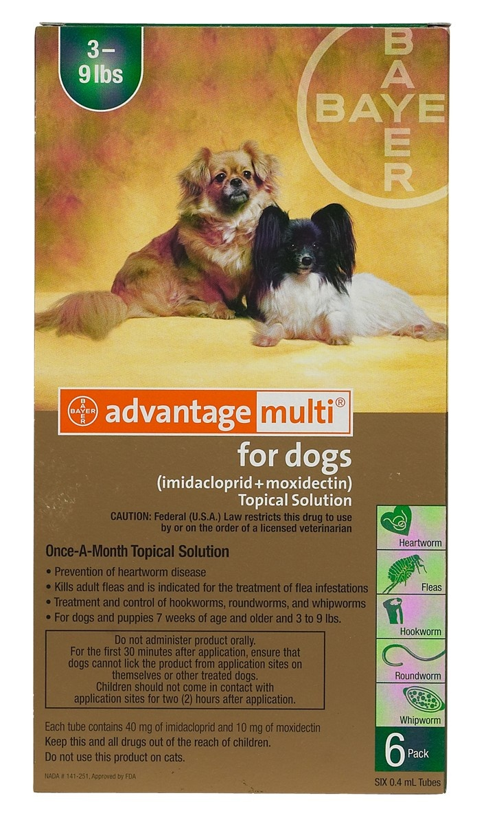 Advantage Multi (Advocate) is a monthly topical spot-on treatment to control fleas, heartworm, gastrointestinal worms (hookworm, roundworm and whipworm), sarcoptic mange, demodicosis and ear mite infestation. http://www.canadavetcare.com/advantage-multi-advocate-for-dogs/heartwormers-treatment-5.aspx