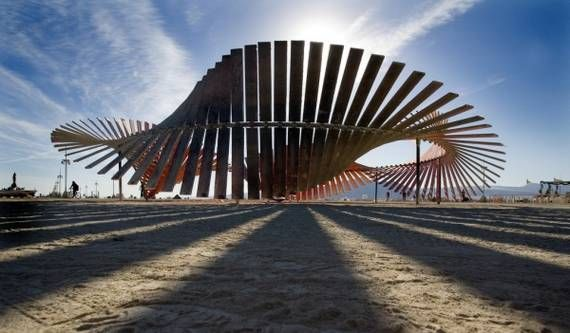 art installations at burning man, meant to evoke the image of the DNA double helix, Kate Radenbush