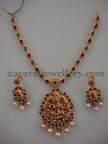 Jewellery Designs: Antique Lakshmi Adorned Gemstone Set