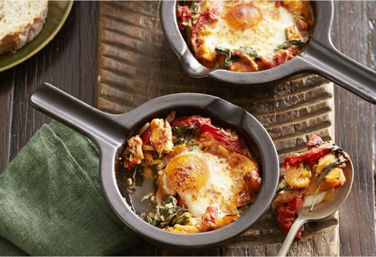 This baked eggs recipe with its rich tomato sauce is simple, yet satisfying. Have it for a light dinner, or a decadent breakfast – it's entirely up to you!