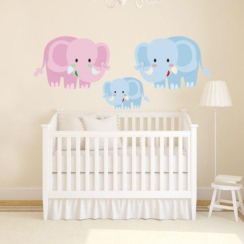 Αυτοκόλλητα τοίχου οικογένεια ελεφάντων