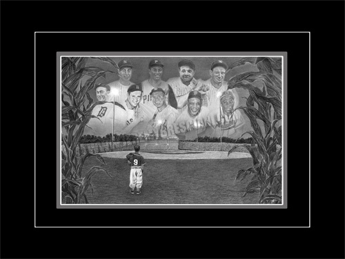 """This is my graphite pencil artwork entitled """"Field of Dreams"""".  This piece captures the dream of every young baseball player to one day play in the Majors and combines this feeling with a surreal, magical field hidden in a vast cornfield. These original sized 16"""" x 24"""" Limited Edition prints are individually signed and numbered out of only 500 while the small 11"""" x 16"""" are individually signed and numbered out of 1869 to commemorate the founding year of Major League baseball in the United…"""