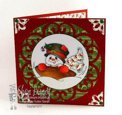 """High Hopes Stamps: Let's Go Sledding! by CHeri using """"Snowman Sled Ride"""" (SS010) & """"Glow of Christmas"""" (H235)"""