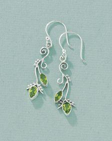 peridot leaf earring - pretty!