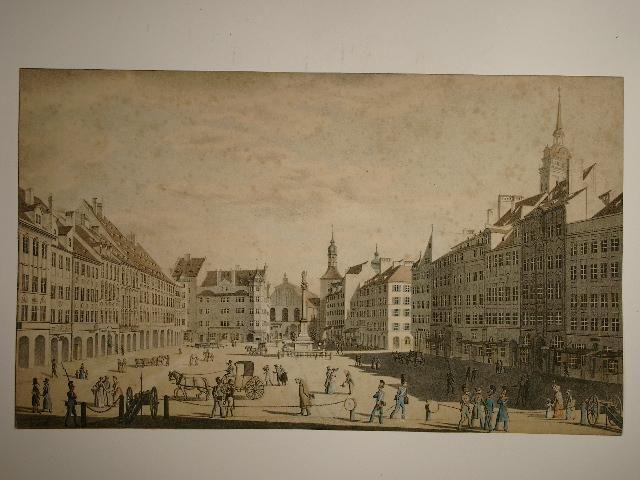 Ansicht des Markt Platzes in München. von Gustav Kraus:: München Geographischen Depot - Versandantiquariat Christine Laist