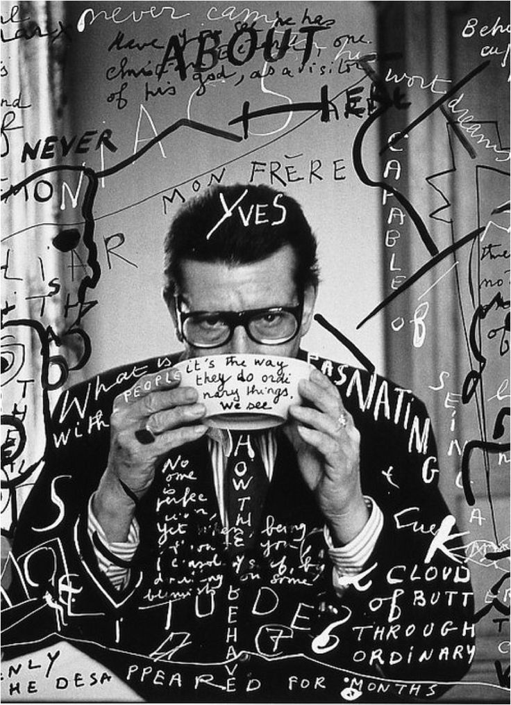 Yves Saint Laurent by François-Marie Banier. Looks like a rip-off of Stefan Sagmeister to me...
