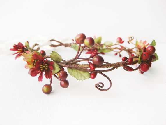 Fall Wedding Hair Accessories, Autumn Flower Crown, Woodland Bridal Headpiece, Rustic, Red on Etsy, $126.45 AUD