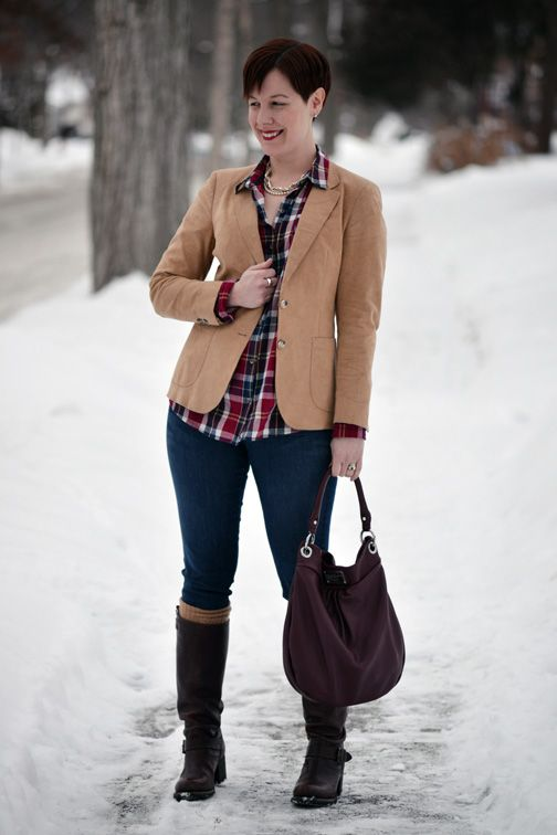 Already Pretty outfit featuring camel suede blazer, plaid shirt, skinny jeans, Frye Vera Slouch boots, Marc by Marc Jacobs Hillier Hobo