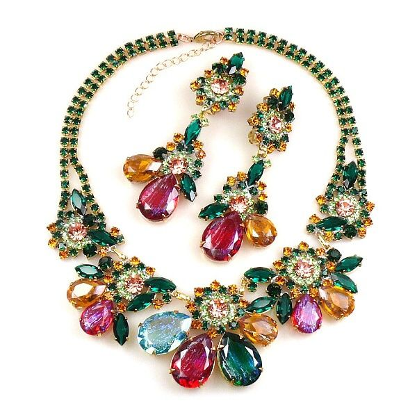 "Exclusive rhinestone necklace set hand created from rare toned rhinestones with iridescent effect and bunch of smaller Preciosa stones and components. Length of necklace 15.50"" and extender 2.50"", length of clips-on earrings  3.50"". Price: $99.90"