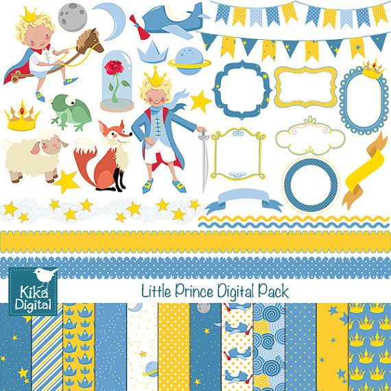 INSTANT DOWNLOAD Little Prince Digital Clipart and Paper Pack - Scrapbooking , card design, invitations, stickers, paper crafts, web design