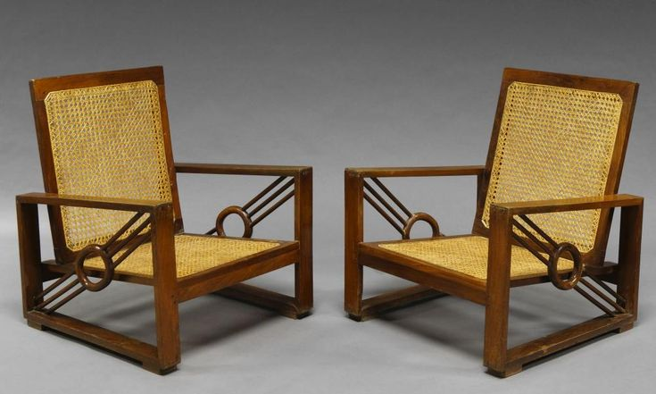 A pair of Art Deco mahogany framed armchairs, with caned back and seats and open arms set with diagonal motif - Price Estimate: £150 - £250