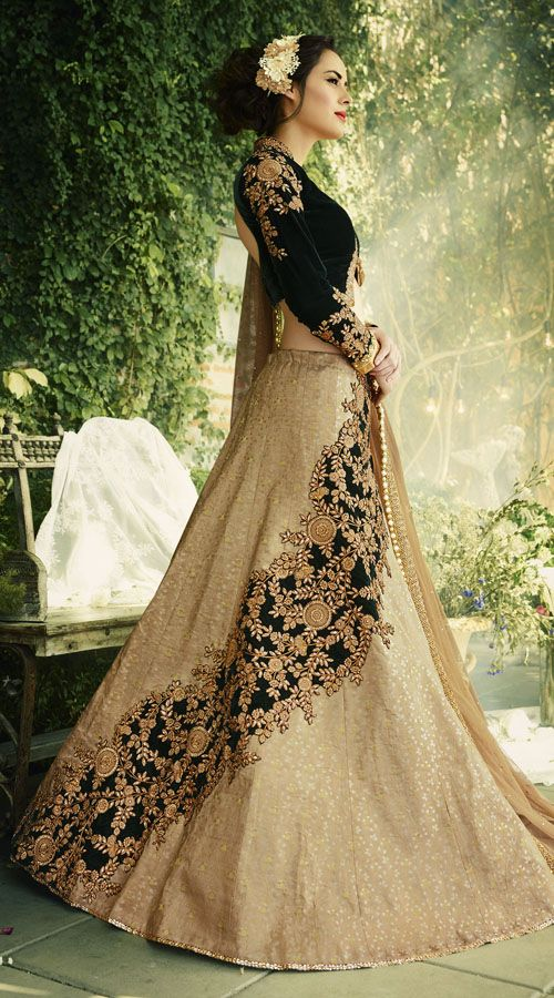 Beige Jacquard Lehenga With Velvet Koti Style Choli  #indiabazaaronline #Lehnga Choli #Designer Lehenga Choli #Lehenga #Velvet #Beige #Green #Embroiderywork #Wedding wear #A Line Lehenga  #Crop Top Lehenga #Embroidered Blouse #Embroidered Lehenga #Floral Lehenga #Full sleeves lehenga #Long Sleeves #Short Choli Lehenga #wedding lehenga choli #Bridal Lehenga #lehnga #Bridesmaid lehenga