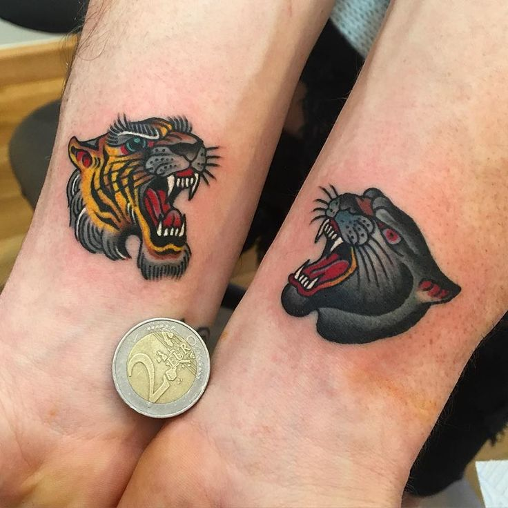 Angry Tiger And Panther Head Tattoos On Wrists by Samuele Briganti