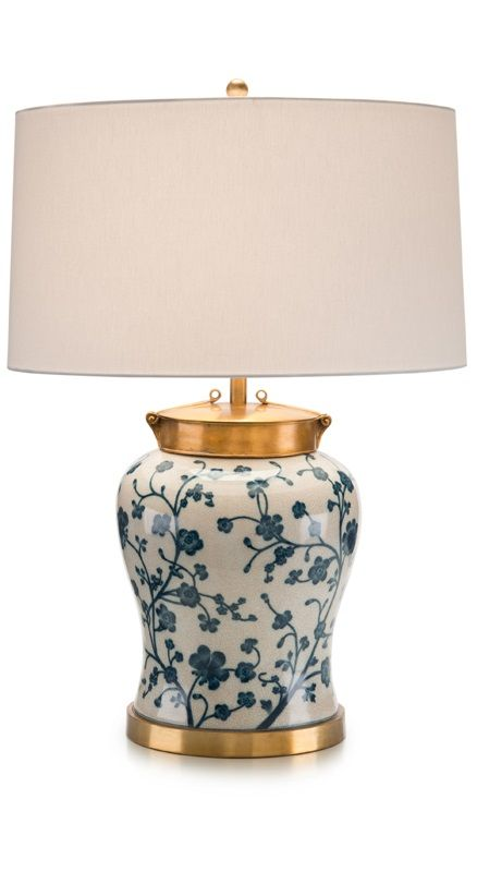 Ceramic blue and white lamp.