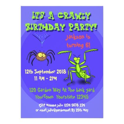 Insects Cartoon Birthday Invite For 5 Year Old