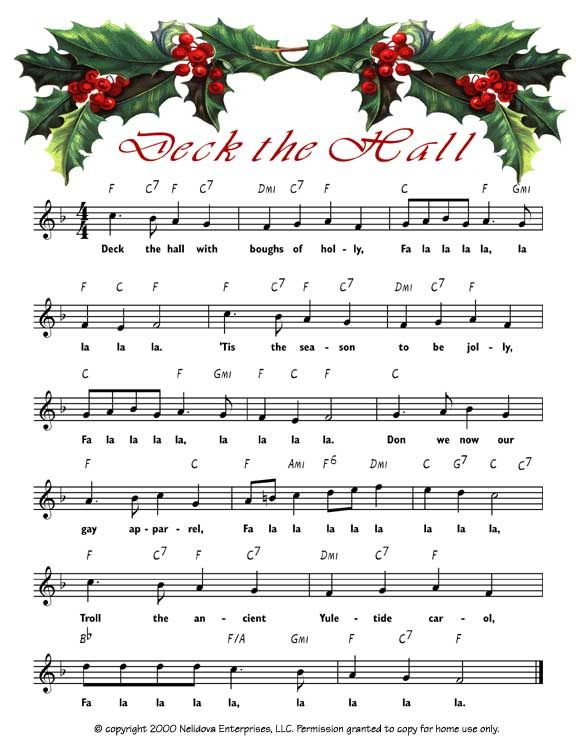 Deck the Hall link to printable xmas sheet music for decorations.