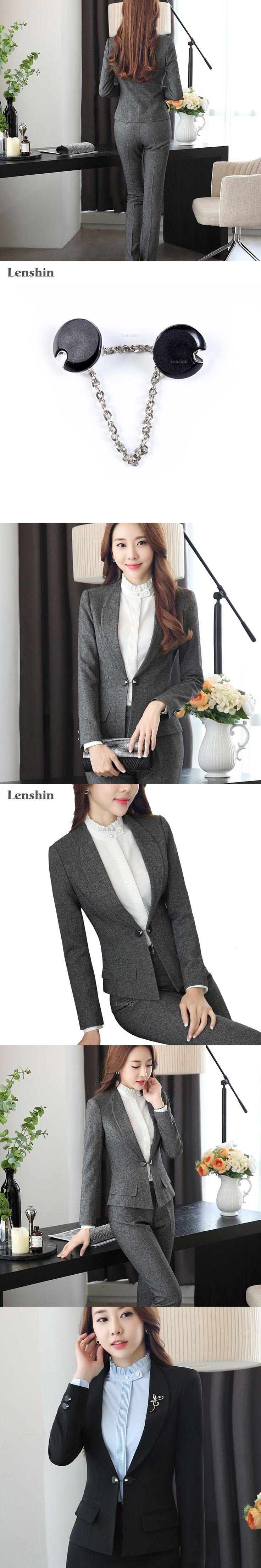 Lenshin Shawl Collar Two Piece Ladies Formal Pant Suit For Wedding Office Uniform Designs Women Business Suits For work