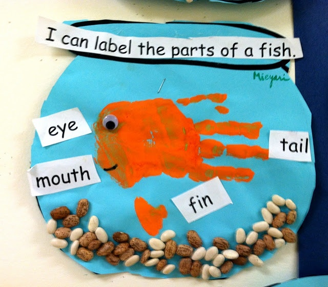 Springboard idea....Have a real fish for them to color or cut out and glue, wiggly eye, beans as shown to glue, and then a paper with the parts to cut out and glue to label. Multipurpose....fine motor, beginning literacy, cutting out, learning about diagrams