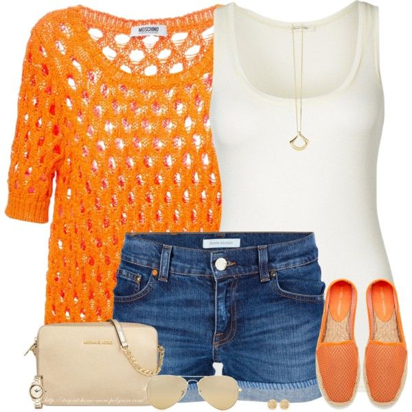 Orange Espadrilles by stay-at-home-mom on Polyvore featuring Boutique Moschino, American Vintage, Pierre Balmain, Rebecca Minkoff, MICHAEL Michael Kors, Roxy, Dinny Hall, Ray-Ban, orange and michaelkors