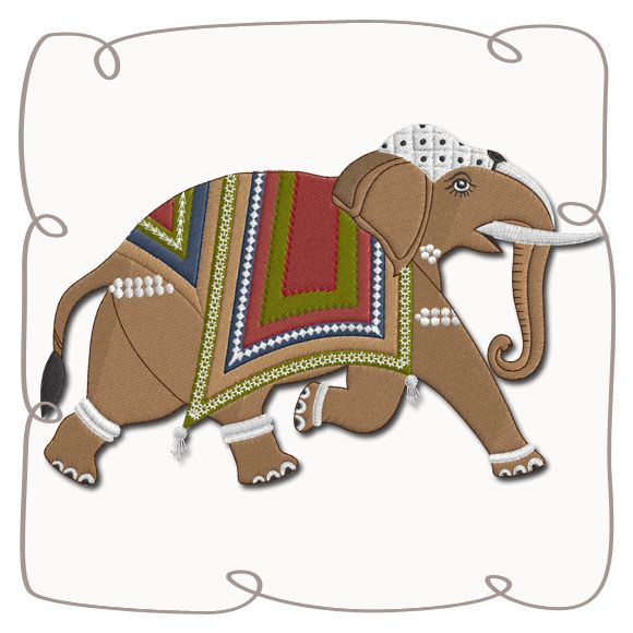 Bali Elephant 2 Machine Embroidery Design Pattern-INSTANT DOWNLOAD