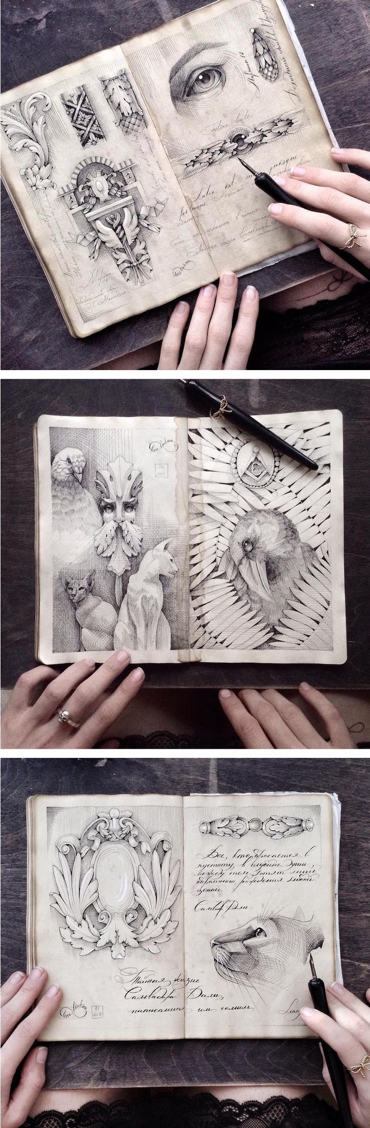 Sketchbook art by Elena Limkina // art journals