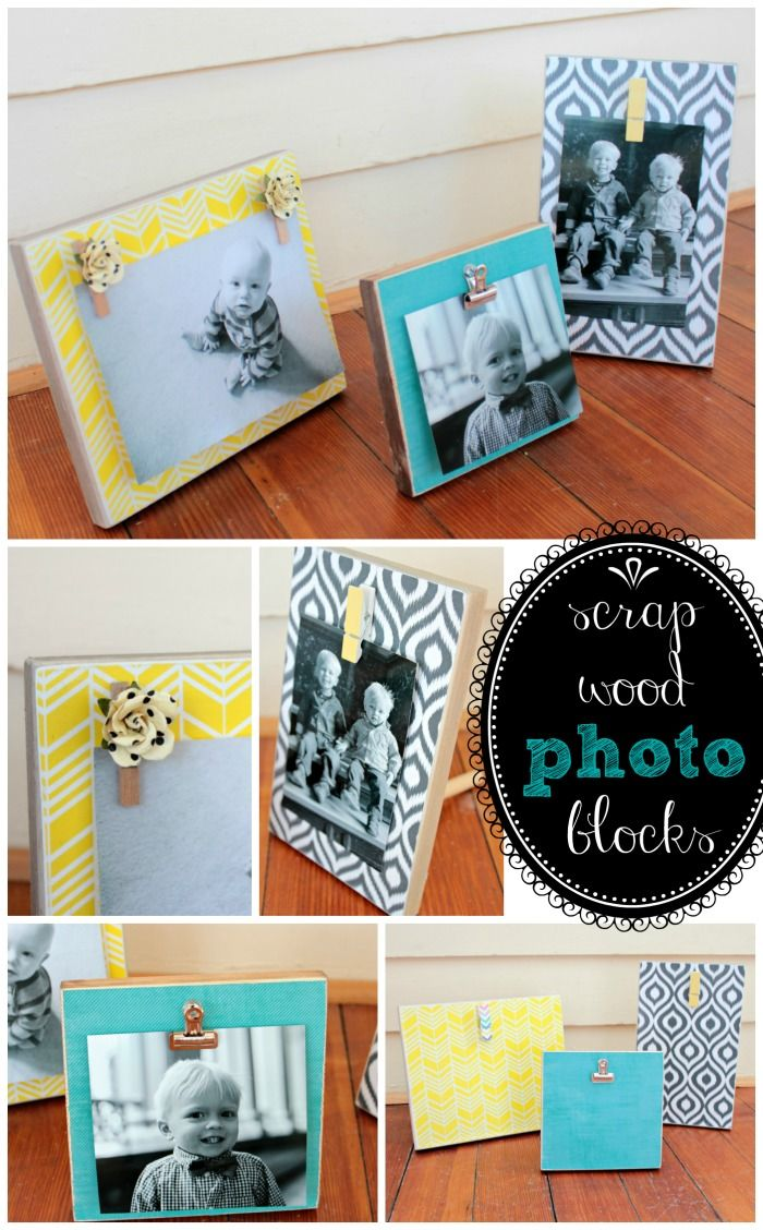 Scrap Wood Photo Blocks- easy DIY- Interchangeable- view from the fridge and Juggling Act Mama