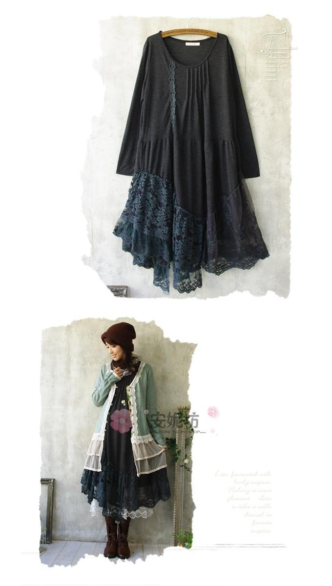 Autumn Mori Girl Style 100% Cotton Patchwork Lace Asymmetrical Long Sleeve Full…