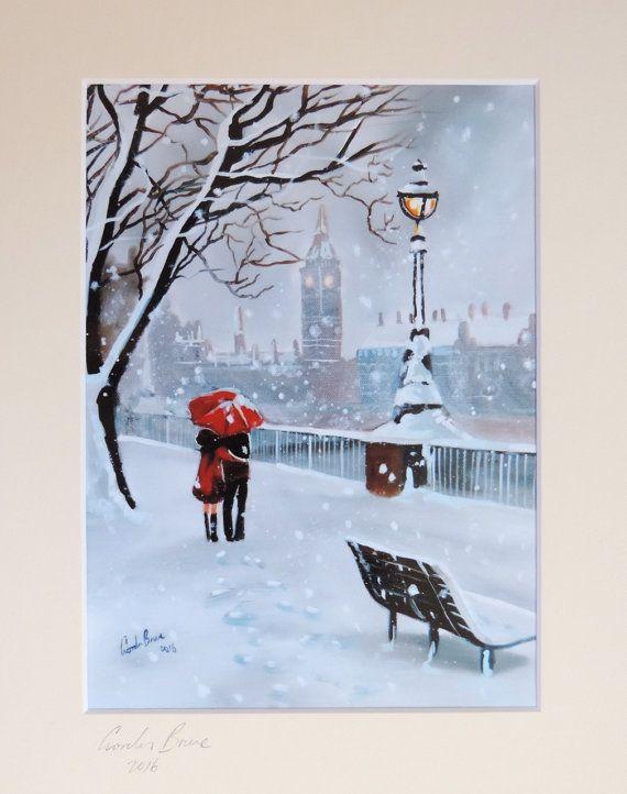 Lady in red London signed print mounted artwork Gordon Bruce  #redumbrella #Londoninwinter #art