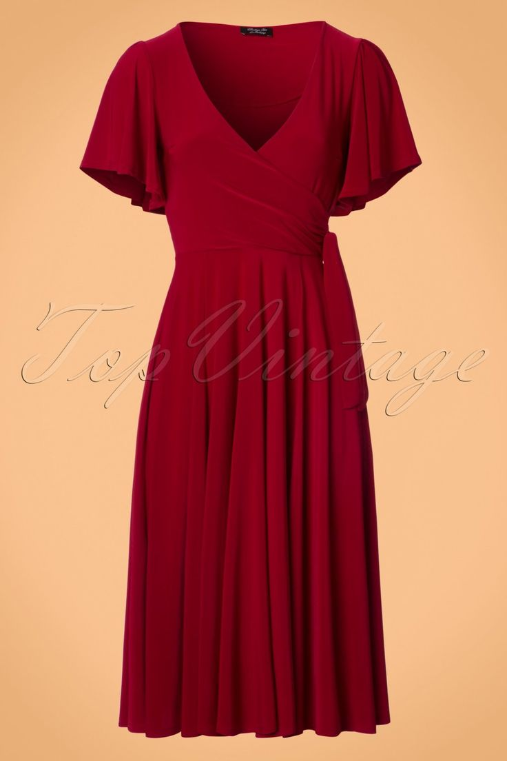 1940s Style Dresses and Clothing 40s Lara Cross Over Swing Dress in Red £54.67 AT vintagedancer.com