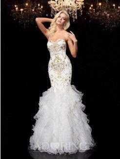 Mermaid Sweetheart Sleeveless Beading Floor-Length Organza Dresses