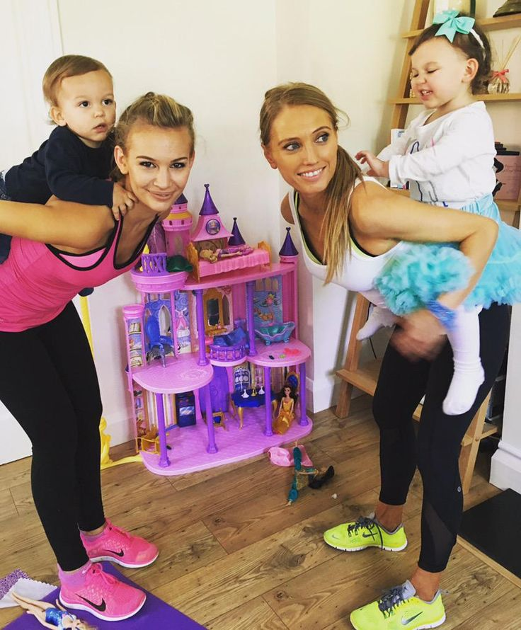 "Working out with @AnnaSaccone & doing some kids fitness ""piggy back squats"" with Emilia & Eduardo"