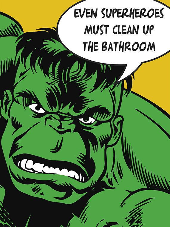 "Hulk Art, Superhero Art, Kids Bathroom Decor, Bathroom Art,, ""Hulk's Good Advice"", 18"" x 24"" Gallery Quality Art Print on Etsy, $49.00"