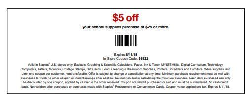 image about Staples Coupons Printable identified as Staples Coupon: $5 Off $25+ Faculty Elements Printable