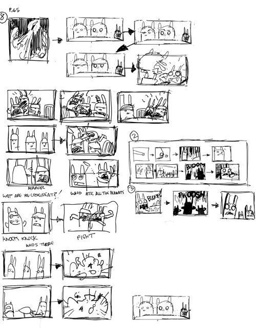 Dan Santat thumbnails from Attack of the Fluffy Bunnies.