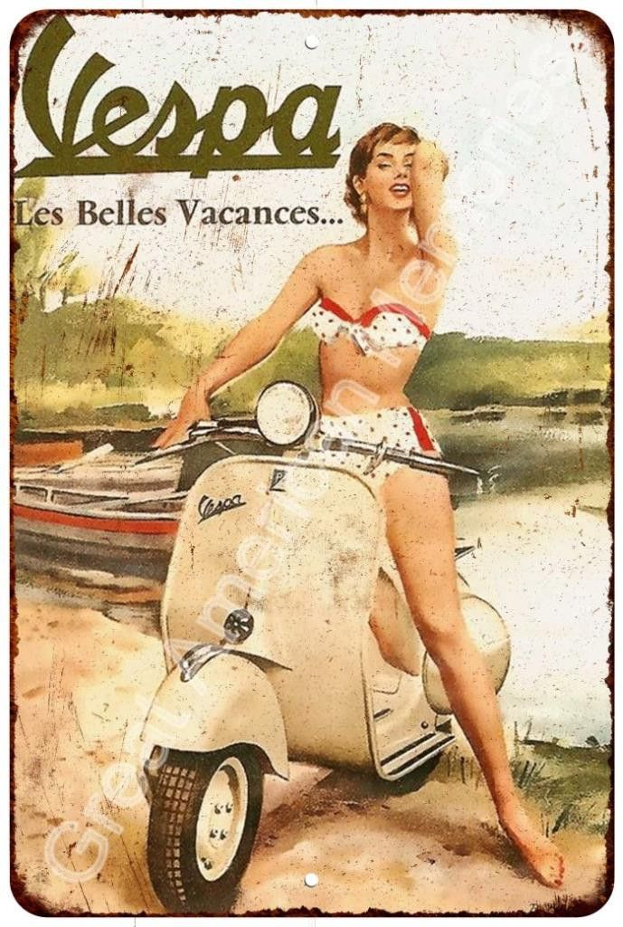 Vespa Scooters Vintage Look Reproduction Metal Sign 8x12 8122808