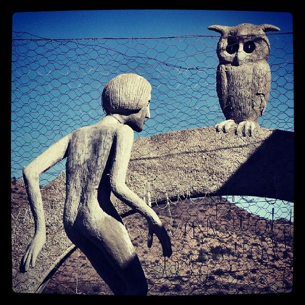 Helen Martins, Creator of the Owl House in Nieu Bethesda. One of the many sculptures in her 'Camel Yard'.
