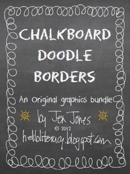 Chalkboard Doodle Borders Bundle - Set of 24 - use borders for the covers of class books, thematic units and school projects. Also, download free chalk font at www.fontspace.com