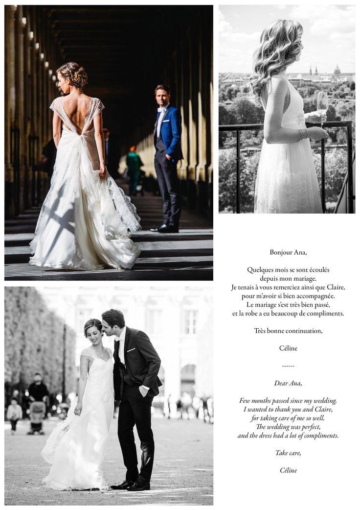 Céline, dans la robe longue OPHÉLIE, et la robe courte IRIS. Céline, in the long gown OPHÉLIE, and the short one IRIS.