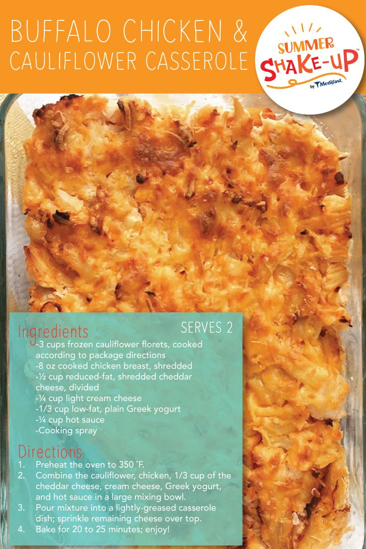 This Buffalo Chicken & Cauliflower Casserole is a great lean and green option created by our Medifast Dietitian team for your Summer Shake Up™!