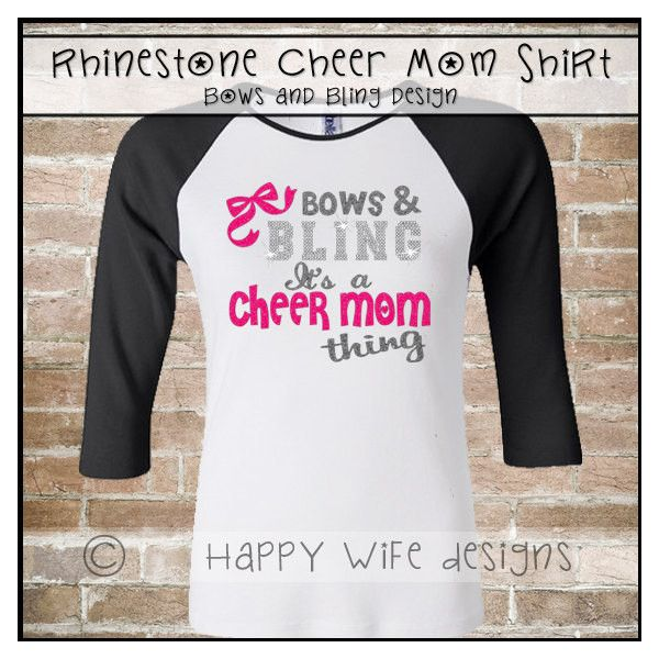 Rhinestone Cheer Mom Shirt Bows and Bling Design ($30) ❤ liked on Polyvore featuring tops, t-shirts, silver, women's clothing, glitter shirts, t shirts, rhinestone shirts, baseball shirts and baseball tee