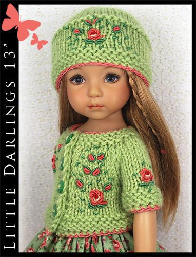 """OOAK Green & Coral Outfit for Little Darlings Effner 13"""" by Maggie & Kate Create"""