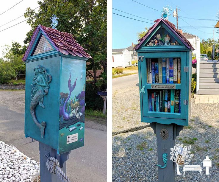 "Alison Tames. Plum Island, MA. MERMAID BOOK NOOK - Plum Island's premier Little Free Library. Located at Basin's End, last cottage on the 16th Street. Here you'll find a variety of summer beach reads, usually with ocean themes. New ""Mermaid's Choice"" book every couple weeks. Hand painted mural by artist Matt Tames on the sides. Dog friendly with leash hook and treat box."