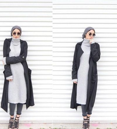 Long black cardigan- long gray sweater- turban style - Modern Hijab Street styles http://www.justtrendygirls.com/modern-hijab-street-styles/