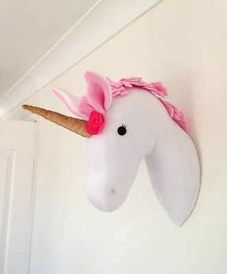 Handmade Plush Taxidermy Pink Wall Mounted Unicorn Head Bedroom Decoration in Home, Furniture