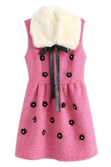 取り外し可能な毛皮襟袖なしのピンクのドレス ¥3,799