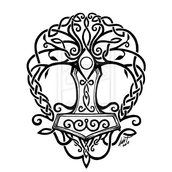 Celtic knotwork forming a Thor's Hammer motif. Yes, technically Thor's Hammer is a Norse symbol, but I like the blend between the Celtic and Norse used.